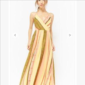 Forever 21 chiffon yellow striped maxi dress